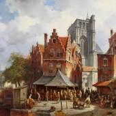 "Carabain, Jacques Francois (1834 Amsterdam - 1933 Brüssel,  ""Markttag nach dem Kirchgang"", links ein Kanal, rechts eine gotische Kirche, reiche Figurenstaffage, Öl auf Leinwand, wachsdoubliert, signiert unten links Jacq. Carabain, 81 x 111 cm, Mindestpreis:3.500 EUR"