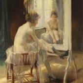 """Argyros, Oumbertos (1884 Kavala - 1963 Athen) """"Junge Dame vor einem Spiegel"""", Öl auf Holz, signiert unten rechts O. Argyros München, 66 x 53 cm, Mindestpreis:2.200 EUR"""