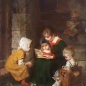 """Kaulbach, Hermann  """"Das neue Bilderbuch"""", Öl auf Holz, signiert rechts unten Herm. Kaulbach, 40.5 x 31.5 cm Mindestpreis:4.000 EUR"""