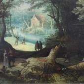 """Brueghel d.Ä., Jan, Schule des (16. Jh./17. Jh.)  """"Waldlandschaft mit Jägern und höfischem Paar"""" Mindestpreis:4.000 EUR"""