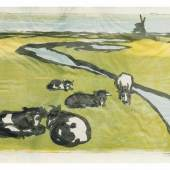 Emil Nolde (Nolde 1867 - Seebüll 1956) Ruhende Kühe 1926, Farblithographie/Japanbütten, 60 x 80 cm, r. u. mit Bleistift sign. Mindestpreis:15.000 EUR