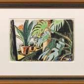 """Karl Schmidt-Rottluff (1884 Rottluff - 1976 Berlin) """"Philodendron und Clivia"""". Originaltitel, Mindestpreis:58.000 EUR"""