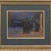 Franz Skarbina (1849 Berlin - 1910 ebenda) Droschke und Passanten auf dem abendlichen Potsdamer Platz, Mindestpreis:6.500 EUR