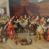 """Francken, Frans I. (1542 Herenthals - 1616 Antwerpen), """"Die Hochzeit zu Kana"""", Öl auf Holz, parkettiert, 111 x 166 cm, restauriert.  Mindestpreis:6.000 EUR"""
