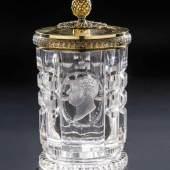 Seltener Deckelbecher mit König Maximilian I. Joseph von Bayern Glas Harrachsche Hütte, Neuwelt, Schnitt Dominik Biemann zugeschrieben, um 1835  Zuschlagspreis:3.300 EUR
