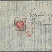 """Los 12134Schweiz1845, 'Basler Taube': 2½ Rp. Schwarz/lebhaftblau/karmin mit Plattenfehler 'farbloser Punkt links oberhalb des Kopfes der Taube', korrekt verwendet auf kleinformatig gefaltetem Börsenbericht an Herrn Hensler & Co, in Basel mit rotem Zweikreisstempel """"BASEL 18 FEVR. 1847"""" entwertet. Zuschlag: 25.000,- Euro / Ausruf: 15.000,- Euro"""