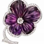 Seltene Brillant-Amethyst-Blütenbrosche Frankreich um 1930. WG 18 Kt. Mindestpreis:1.200 EUR