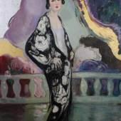 """wohl Französischer Maler (um 1920/30), """"Elegante Dame im Kimono auf südlicher Terasse"""", Öl auf Leinwand, 150 x 120 cm. Provenienz: erworben ca. 1970er Jahre in der Galerie Suffren, Inh. Jean-Louis Fourès, St. Tropez. Mindestpreis:4.000 EUR"""