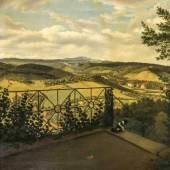 Ernst Helbig (1802-1866),war Schüler von Johan Christian Dahl und lebte 1823 im selben Haus wie Caspar David Friedrich, Landschaft im Harz, Blick von einer Terrasse über die bewaldeten Hügel des Harzes mit dem Brocken im Hintergrund. Mindestpreis:1.500 EUR