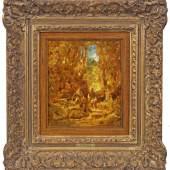 Carl Spitzweg (1808 München - 1885 ebenda) Waldlandschaft mit jungem Paar, Mindestpreis:17.000 EUR