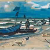 Hermann Max Pechstein (1881 Zwickau - 1955 Berlin) Strandansicht mit Fischerbooten in Leba, Mindestpreis:34.000 EUR