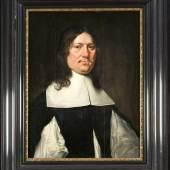 Bildnismaler des 17. Jh., Porträt eines Mannes mit längeren Haaren in schwarz-weißer, Mindestpreis:2.500 EUR