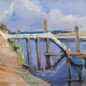 Gretchen Wohlwill (Hamburg 1878 - Hamburg 1962) Steg im Hafen von Finkenwerder Ende der 1920er Jahre, Öl/Lw., 75,5 x 94 cm Mindestpreis:4.500 EUR