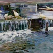 """Koester, Alexander Max (1864 Bergneustadt - 1932 München) """"Wehr mit Enten"""", Öl auf Leinwand, signiert unten links A. Koester, 44 x 62 cm, Mindestpreis:8.000 EUR"""