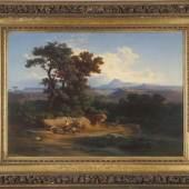 Johann Jakob Frey (Basel 1813-1865 Frascati) Landschaft mit Ponte del Torri, Öl auf Lwd., 73 x 101 cm Schätzpreis:4.800 EUR