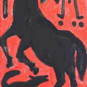 """Penck, A.R. (1939 Dresden - 2017 Zürich, bedeutender zeitgenössischer Künstler und Vater der Neuen Wilden), 2 Gemälde, """"Ohne Titel"""" - Faszination Pferdesport, Acryl auf Holz, Schwarz und Rot, jeweils 99 x 57.5 cm Mindestpreis:38.000 EUR"""