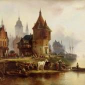 """Meyerheim, Wilhelm Alexander (1815 Danzig - 1882) Buntes Treiben in einer Hafenstadt (Danzig ?)"""" Mindestpreis:3.800 EUR"""