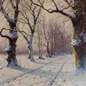 """Moras, Walter (1856 Berlin - 1925 ebda.) """"Spaziergang im Winterwald"""", Öl auf Leinwand, signiert unten rechts W. Moras, 80 x 120 cm Mindestpreis:2.400 EUR"""