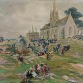 """Midy, Arthur (1887 St. Quentin - 1944) """"Jour de pardon à Notre-Dame de Tronoën/Wallfahrtsfest vor Notre-Dame de Tronoën"""" Mindestpreis:2.400 EUR"""