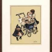 Heinrich Zille (1858 Radeburg - 1929 Berlin) Berliner Gören am Kinderwagen Mindestpreis:7.800 EUR Aufrufpreis:7.800 EUR