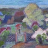 """Schacht, Karin (1900 Niederlößnitz – 1988 Kassel) """"Häuser in blühenden Gärten II"""", Aufrufpreis:7.500 EUR"""