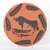 """PICASSO, Pablo, Keramikteller, unglasiert, """"Tauromachy Scene"""", Mindestpreis:3.800 EUR"""