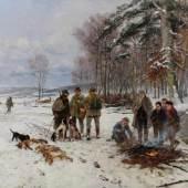 Mühlig, Hugo (1854 Dresden - 1929 Düsseldorf), Nach der Treibjagd, Mindestpreis:9.000 EUR