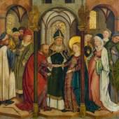 Meister der Kaufbeurer Heiligenlegenden Die Vermählung der Heiligen Jungfrau um 1472–1490, Schätzpreis:30.000 - 40.000 CHF