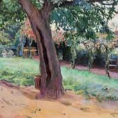 """Slevogt, Max """"Kastanie im Vorhof von Neukastel"""", Öl auf Leinwand, doubliert, signiert unten rechts M. Slevogt, 50 x 60 cm. Mindestpreis:28.000 EUR"""