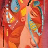 """ACKERMANN Max (1887 Berlin - 1975 Stuttgart) """" Sommermädchen"""" abstrahierter Frauenakt aus seiner Zeit in Horn am Untersee, Öl auf Malkarton, rückseitig signiert, 30x19cm, R. Mindestpreis:4.500 EUR"""