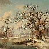 Edmund Koken 1814 Hannover - 1872 Hannover - Winterlandschaft mit der Silhouette von Hannover - Öl/Lwd. 78 x 111 cm.  Zuschlagspreis:6.500 EUR