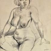 """DIX Otto (1891 Gera - 1969 Singen) """"Sitzender weiblicher Akt"""", Mindestpreis:10.000 EUR"""