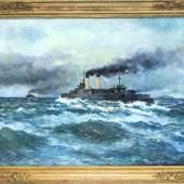 Michel Lattry (1875-1941), russ. Maler, tätig in Paris, russischer Panzerkreuzer Zessarevitsch auf hoher See, Mindestpreis:2.800 EUR