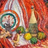 """FELIXMUELLER Conrad (1897 Dresden - 1977 Berlin) """"Folklore und Esel"""" Stillleben mit folkloristisch gestalteten Objekten und einer Eselführerfigur mit dem Lasttier, Mindestpreis:4.500 EUR"""