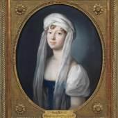 Johann Heinrich Schröder (1757 Meiningen - 1812 ebenda) Historisch bedeutendes Brustporträt der Großfürstin Maria Pawlowna Romanowa von Russland als Erbprinzessin von Sachsen-Weimar-Eisenach im Jahr 1806, Mindestpreis:4.500 EUR