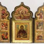 Triptychon, Tempera auf Holz, Russland, 17. Jh., in der Mitte Johannes der Vorläufer, auf den Flügeln Szenen seiner Lebensgeschichte Mindestpreis:2.800 EUR
