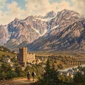 Hubert Sattler Blick auf Landeck in Tirol, 1889 Öl auf Leinwand; 46 × 76 cm, Aufrufpreis:4.000 EUR