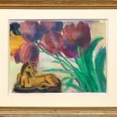 Emil Nolde (1867 Nolde - 1956 Seebüll) Stilleben mit Tulpen und gelbem Pferd, Mindestpreis:48.000 EUR