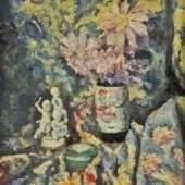 """FRIESZ Emile Othon (1879 Le Havre - 1949 Paris) attr. """"Stilleben mit Chinesischer Vase und Porzellanfigurengruppe"""" Mindestpreis:3.000 EUR"""