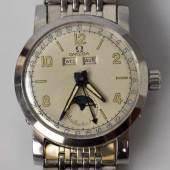 OMEGA Cosmic, Handaufzug, rundes Stahlgehäuse mit Mondphase, Tages- Datumsanzeige, Schweiz um 1947 mit Stahlarmband Mindestpreis:1.000 EUR