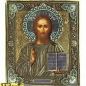 Sehr feine Ikone mit Christus Pantokrator mit emailliertem Vermeil-Oklad.