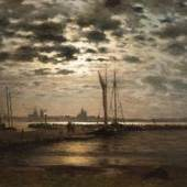 Louis Douzette (1834 Tribsees - 1924 Barth) Mondlicht über Stralsund. Schätzpreis:11.000 - 13.000 EUR