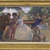 """Leo Putz (1869 Meran - 1940 ebenda) """"Sommers Lust und Freude"""". Originaltitel Galante Szene aus der Biedermeier-Zeit mit zwei jungen Damen, Mindestpreis:35.000 EUR"""