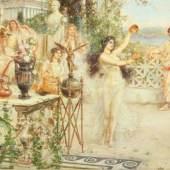"""SALINAS Y TERUEL, Augustín (1862-1915), """"Fest auf der Terrasse einer römischen Villa"""", Öl auf Holz, 23,5 x 40, Mindestpreis:3.000 EUR"""