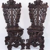 Paar außergewöhnliche, hoch repräsentative Stühle. Um 1880/1900.  Mindestpreis:490 EUR