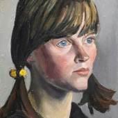"""Curt Querner """"Bildnisstudie Inge Auxel mit Zöpfen"""". 1967/1968. Mindestpreis:7.000 EUR Aufrufpreis: Schätzpreis:8.000 EUR"""