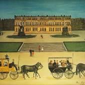 MOLL Petra. 1921 Krumbach - 1989 München. Ansicht auf Schloss Herrenchiemsee.  Mindestpreis:190 EUR