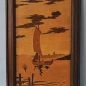 INTARSIENBILD Segelboot auf einem See, im Hintergrund das Ufer mit einem Häuschen,48x23 Rahmen, rückseitig Stempel H. Maybach wohl um 1900, Mindestpreis:100 EUR