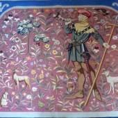 Gobelin mit Darstellung eines mittelalterlichen Jägers., 19. Jh. Farben leicht verschossen, 125 x 138 cm. Aufrufpreis:300 EUR