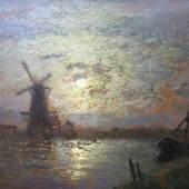 """Douzette, Louis (1834 Triebsees – 1924 Barth)  """"Mondscheinlandschaft"""" Öl auf Malpappe, unten rechts signiert und datiert, 1921, Maße: 35x50 cm Aufrufpreis:6.000 EUR"""